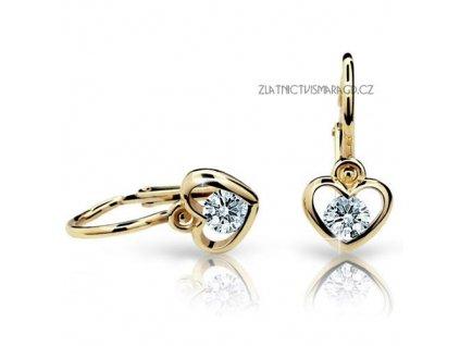 Dětské briliantové náušnice ve tvaru srdce ND1943Z Diamonds žluté zlato