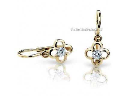 Čtyřlístek – náušnice žluté zlato dětské ND1944Z Diamonds s brilianty