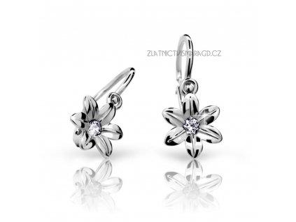 Květinové náušnice bílé zlato ND1993 Diamonds – dětské s brilianty
