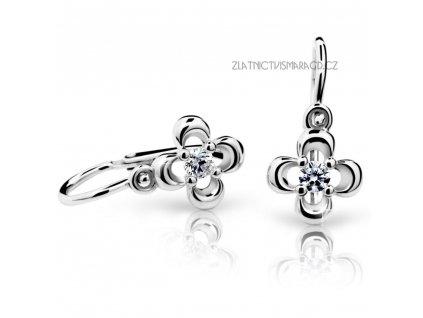Čtyřlístek z bílého zlata – dětské náušnice ND2013 Diamonds s brilianty