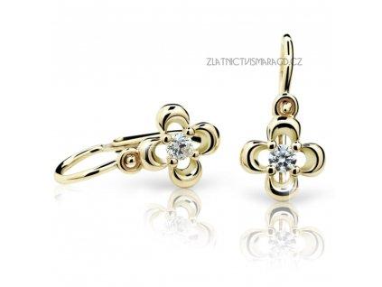 Čtyřlístek ze žlutého zlata – dětské náušnice ND2013Z Diamonds s brilianty
