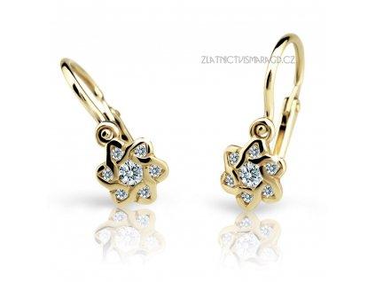Květinové dětské náušnice s brilianty ND2149 Diamonds – rhodiované žluté zlato