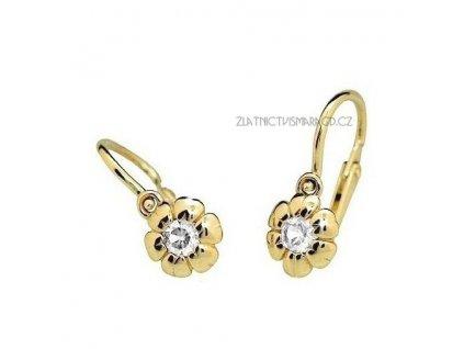 Luxusní dětské náušnice ve tvaru kvítku ND2151Z Diamonds – žluté zlato s brilianty