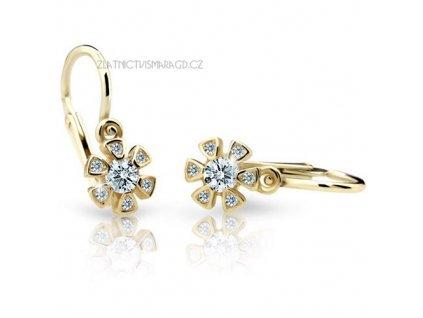 Briliantové náušnice pro holčičky ve tvaru květinky ND2156Z Diamonds žluté zlato