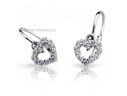 Srdíčkové náušnice pro holčičky ND2157 Diamonds z bílého zlata s brilianty