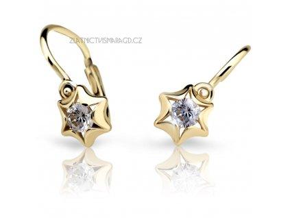 Náušnice pro holčičky ve tvaru hvězdiček ND2159Z Diamonds – žluté zlato s brilianty