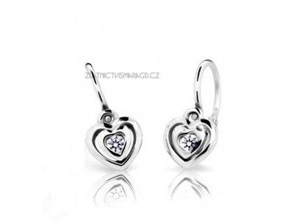 Srdíčkové náušnice pro holčičky bílé zlato ND2177 Diamonds + brilianty