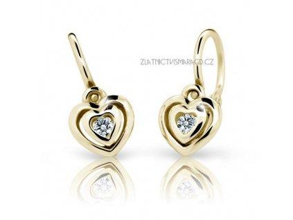 Srdíčkové náušnice pro holčičky žluté zlato ND2177Z Diamonds + brilianty
