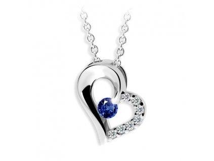 Přívěsek srdce s modrým safírem Z 2974