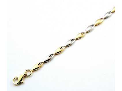 Zlatý náramek 18cm ze žlutého a bílého zlata