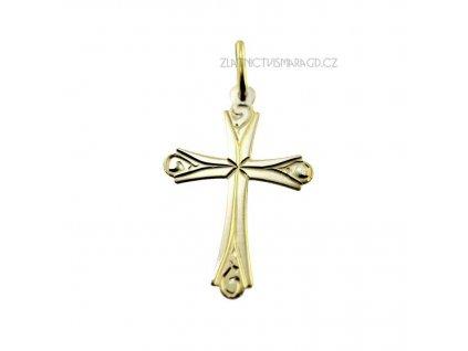 Zlatý přívěsek kříž bez kamenů