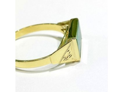 Pánský prsten žluté zlato s Chryzoprasem