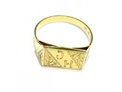 Pánský prsten žluté zlato s monogramem