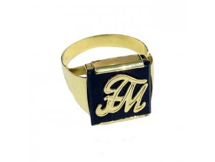 Pánský prsten žluté zlato s Onyxem a monogramem