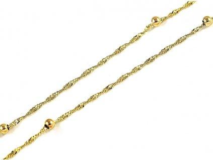 Zlatý řetízek žluté zlato 45cm s kuličkami