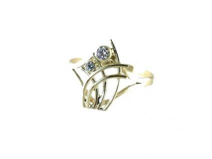 Zlatý prsten se zirkony žluté zlato