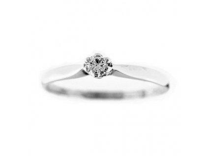Zlatý prsten se zirkonem bílé zlato