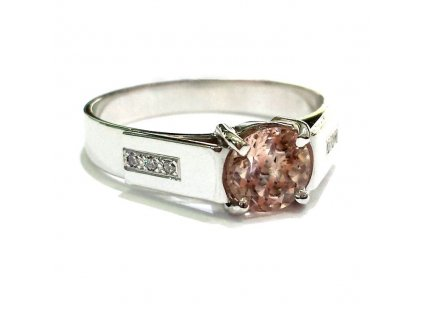 Briliantový prsten bílé zlato s Morganitem