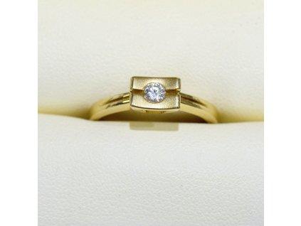 Briliantový prsten ze žlutého zlata zajímavého designu