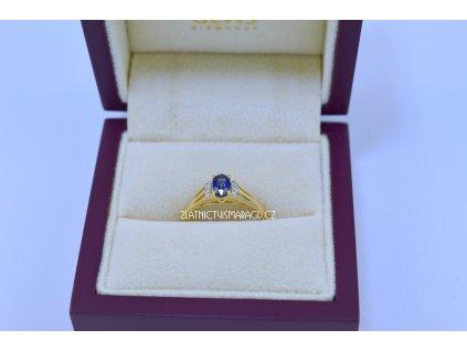 Briliantový prsten safír