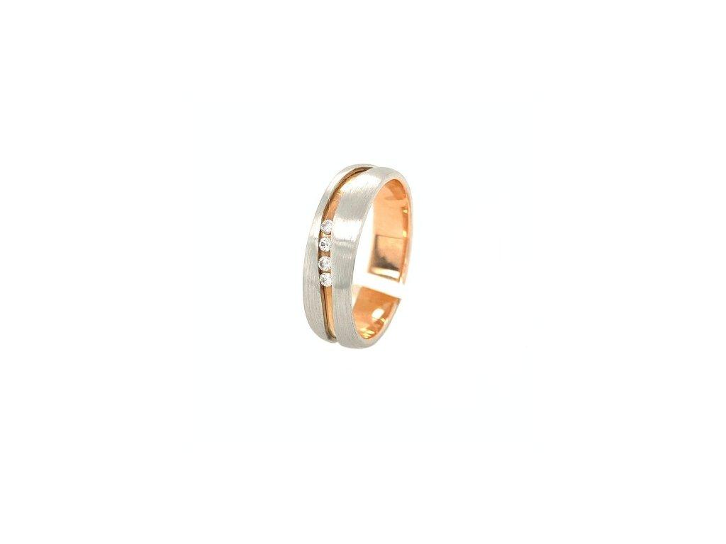 Prsten z bílého a růžového zlata se zirkony AUZ221 Šperky JANN