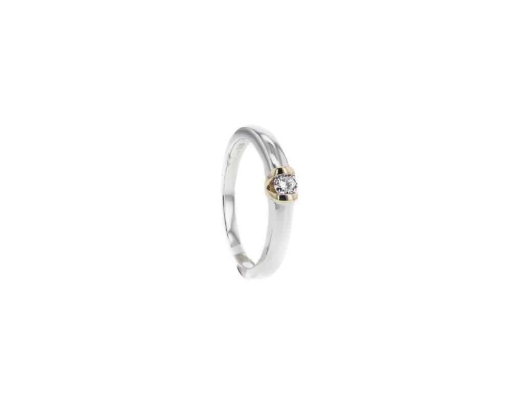 Prsten z bílého a žlutého zlata s briliantem AUBR126 zlatnictvivymolovi.cz