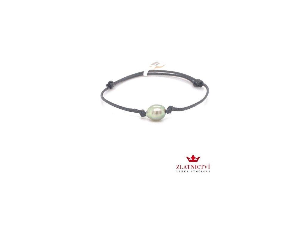 Náramek s tahitskou perlou na černé šňůrce TAHPN5 zlatnictvívýmolovi