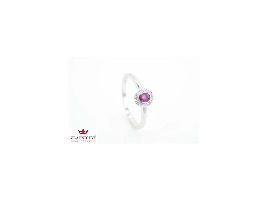 Prsten z bílého zlata s růžovým Safírem a brilianty AUBR55 zlatnictvivymolovi.cz