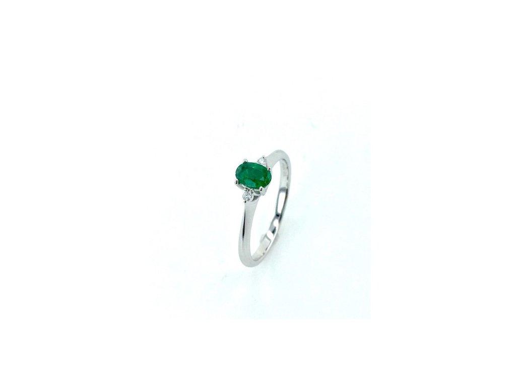 Prsten z bílého zlata se Smaragdem a brilianty AUBR18 Šperky JANN