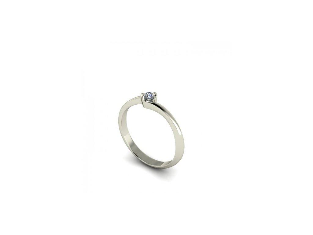 Prsten z bílého zlata s briliantem SPJ55H Šperky JANN