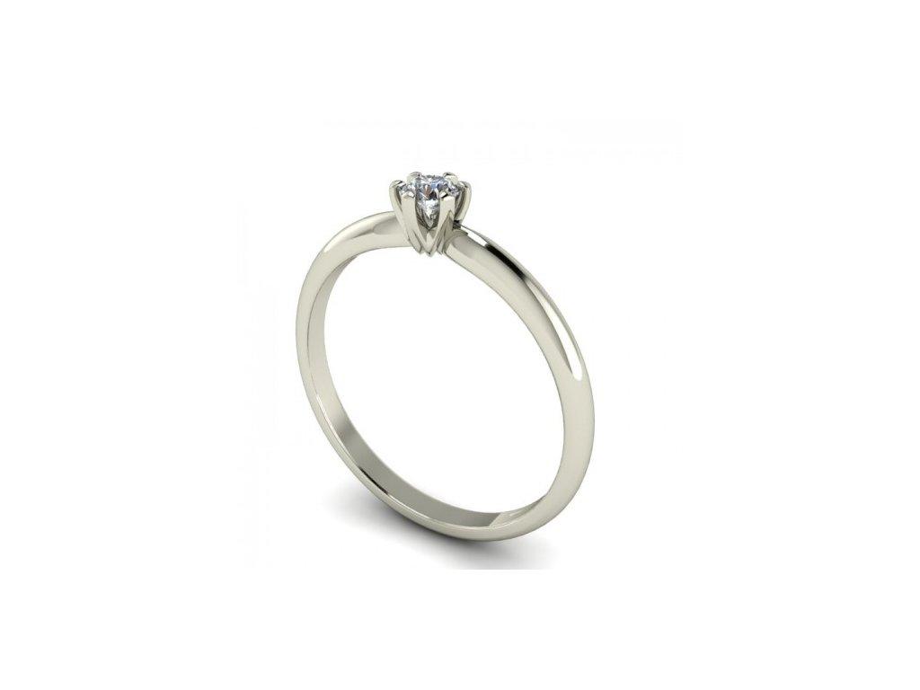 Prsten z bílého zlata s briliantem SPJ58H Šperky JANN