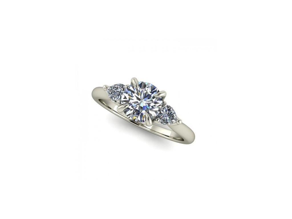 Prsten z bílého zlata s zirkony SPJ54H Šperky JANN