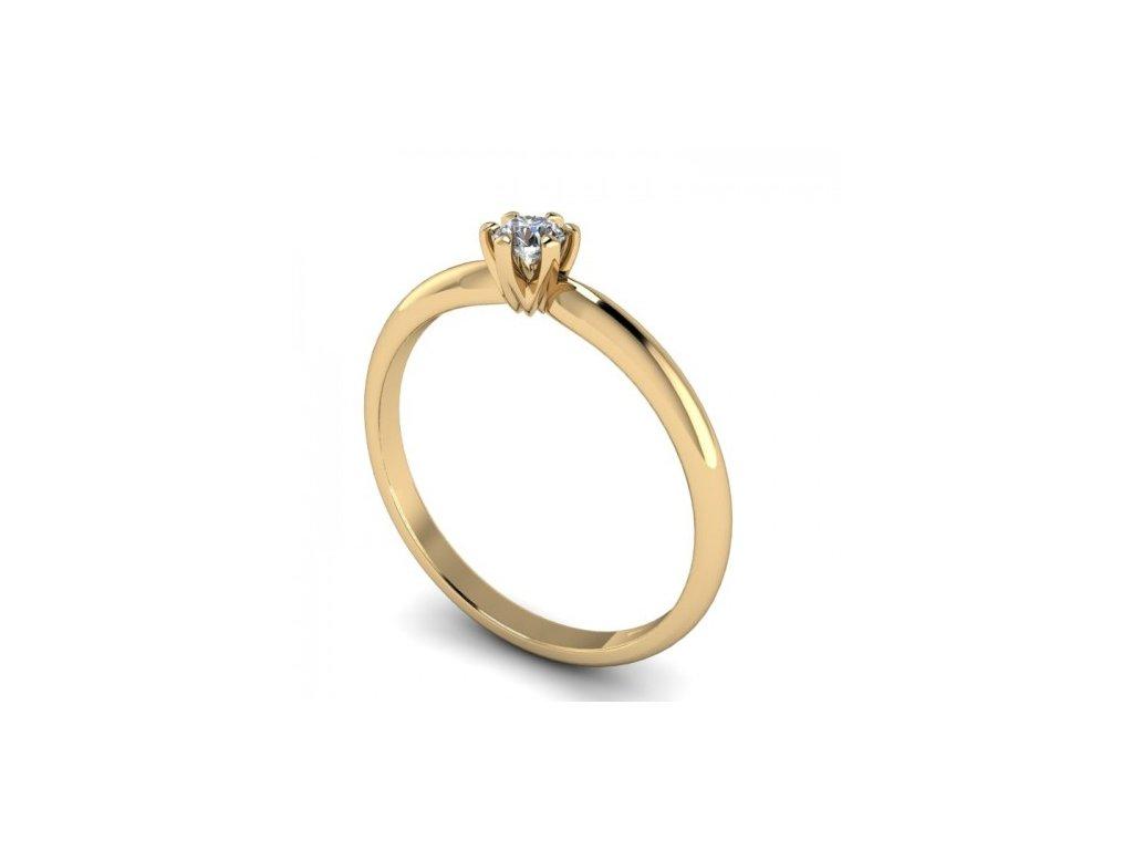 Prsten ze žlutého zlata s briliantem SPJ58H Šperky JANN