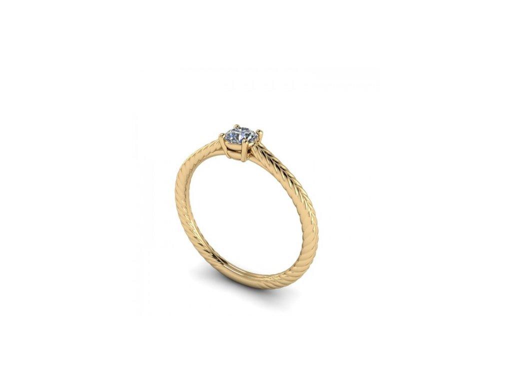 Prsten ze žlutého zlata se zirkonem SPJ53H Šperky JANN