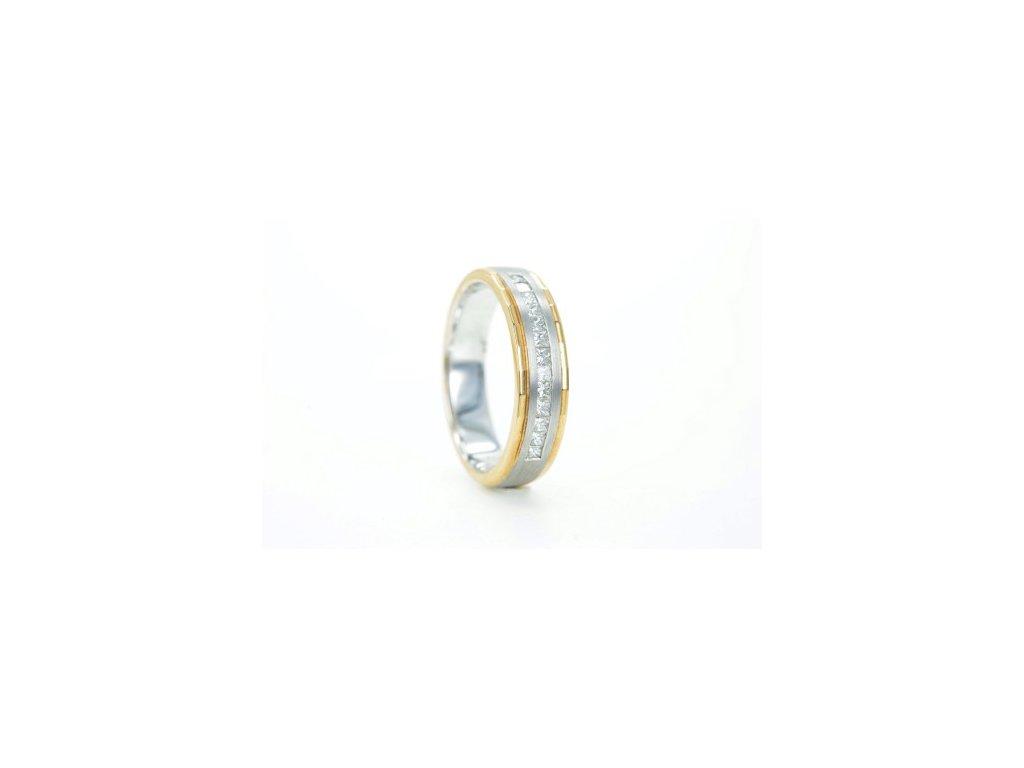 Prsten z bílého a žlutého zlata s brilianty AUBR20 zlatnictvivymolovi.cz