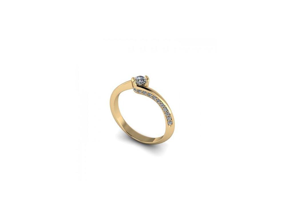 Prsten ze žlutého zlata se zirkonem SPJ36H Šperky JANN