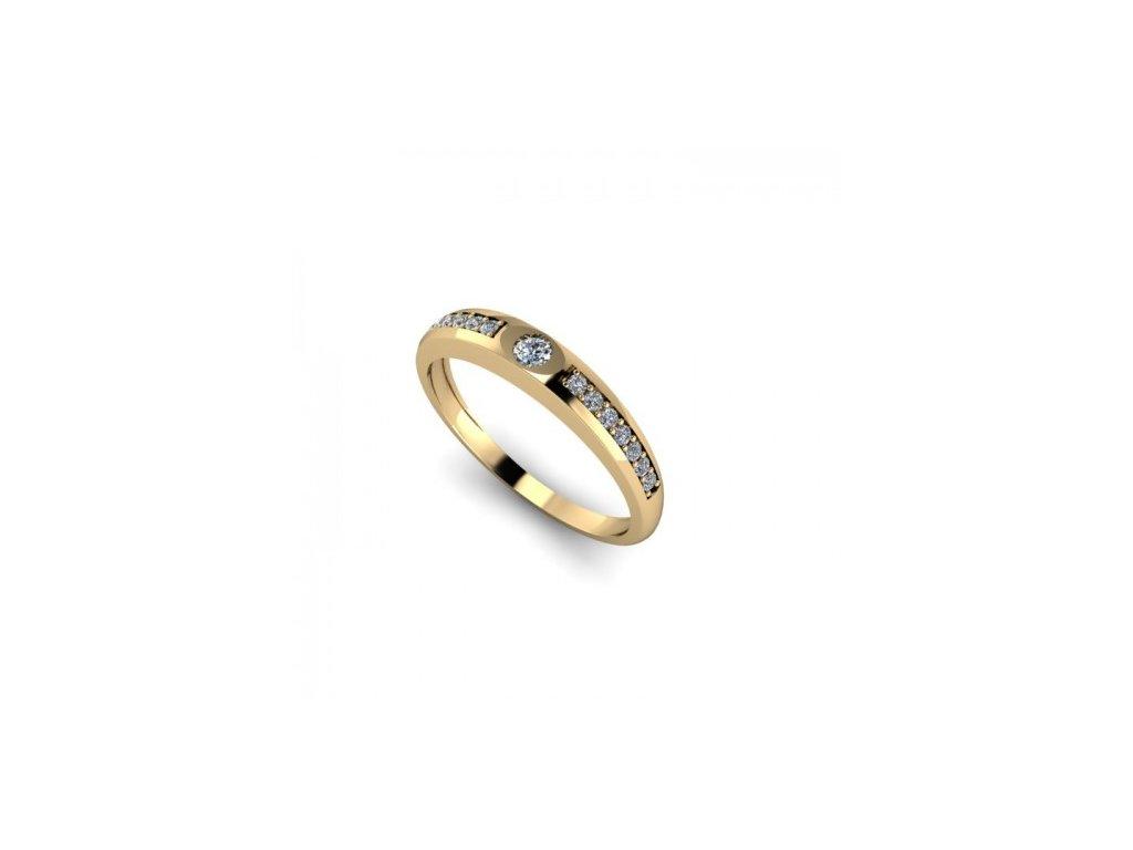 Prsten ze žlutého zlata se zirkonem SPJ43H Šperky JANN