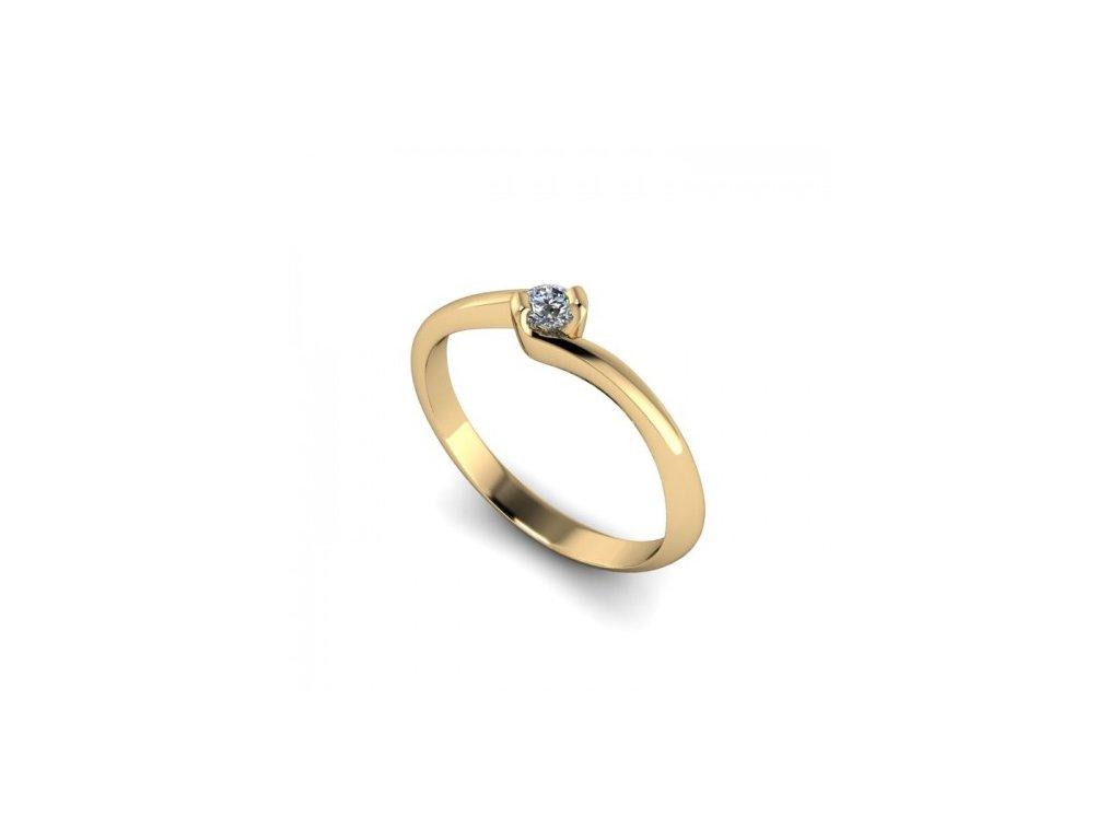 Prsten ze žlutého zlata se zirkonem SPJ49H Šperky JANN