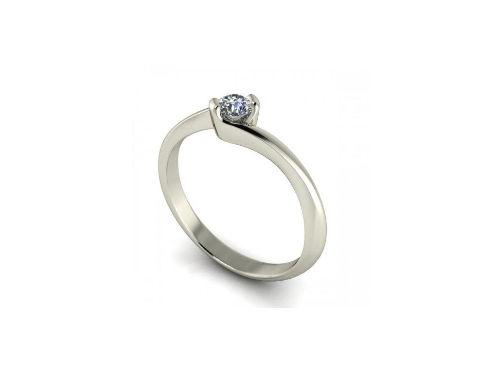 Prsten z bílého zlata s briliantem SPJ49H Šperky JANN