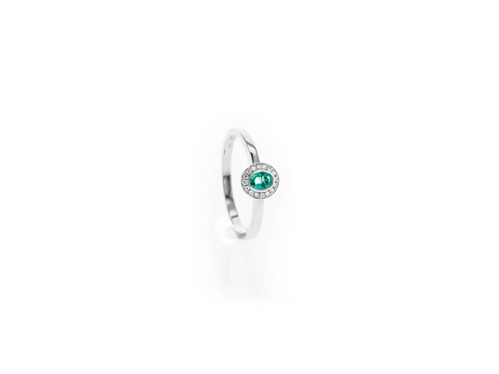 Prsten z bílého zlata s brilianty a Smaragdem AUBR109 zlatnictvivymolovi.cz