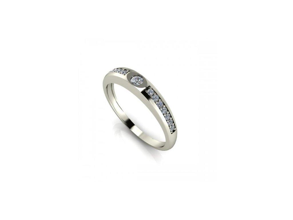 Prsten z bílého zlata se zirkonem SPJ43H Šperky JANN