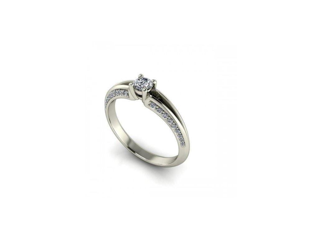 Prsten z bílého zlata se zirkony SPJ39H Šperky JANN