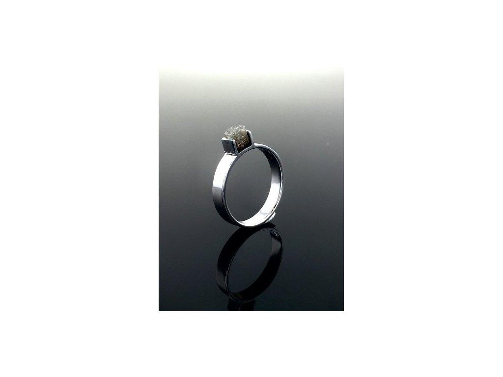 Prsten s RAW Diamantem z bílého zlata RAW5