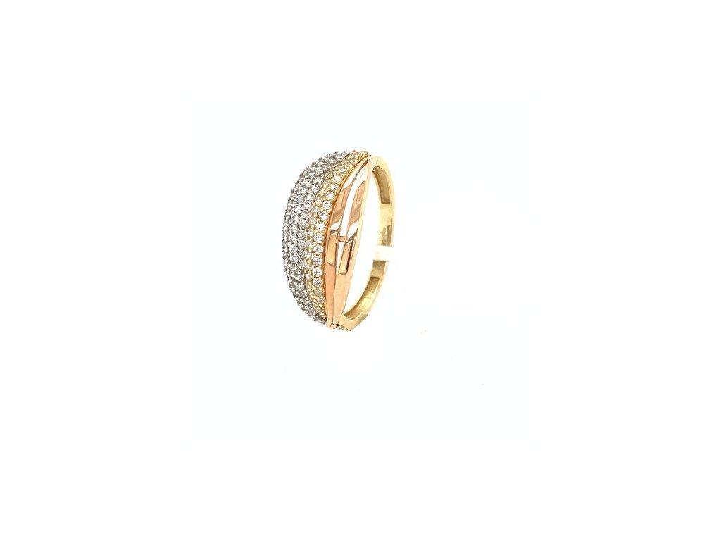 Dámský prsten ze tří druhů zlata se zirkony AUZ144 zlatnictvivymolovi.cz