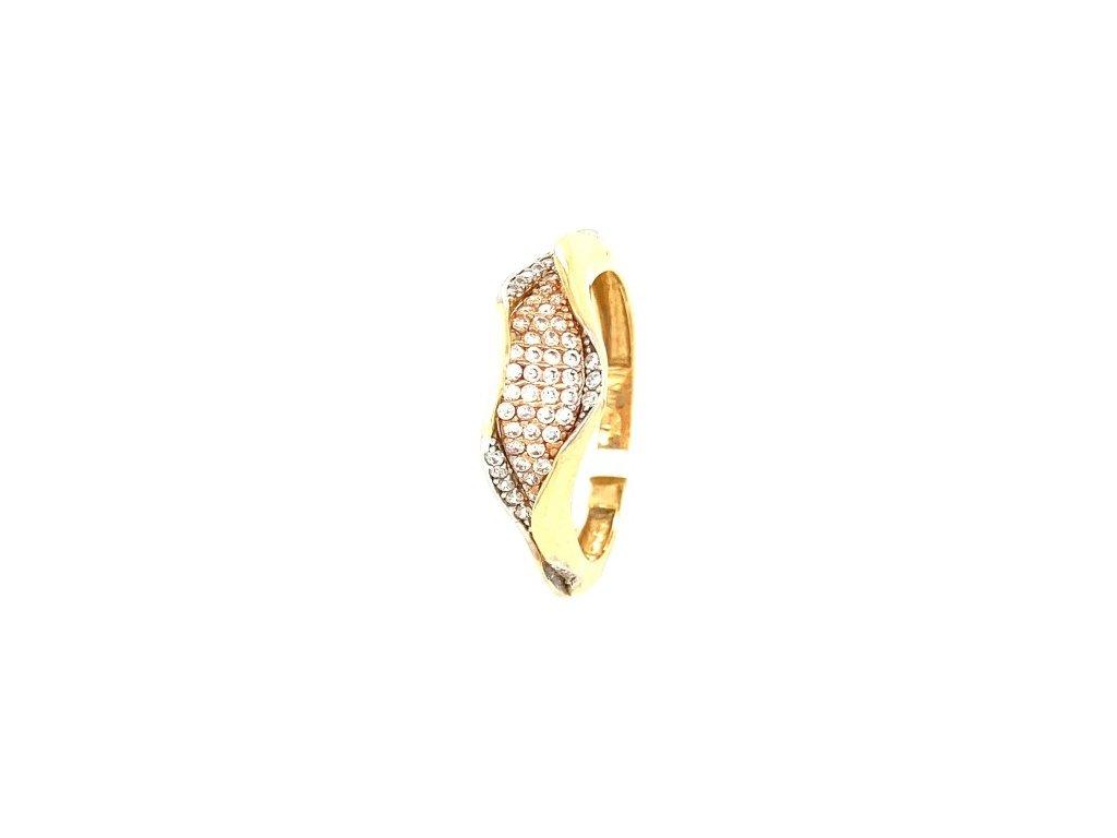 Dámský prsten ze tří druhů zlata se zirkony AUZ223 zlatnictvivymolovi.cz