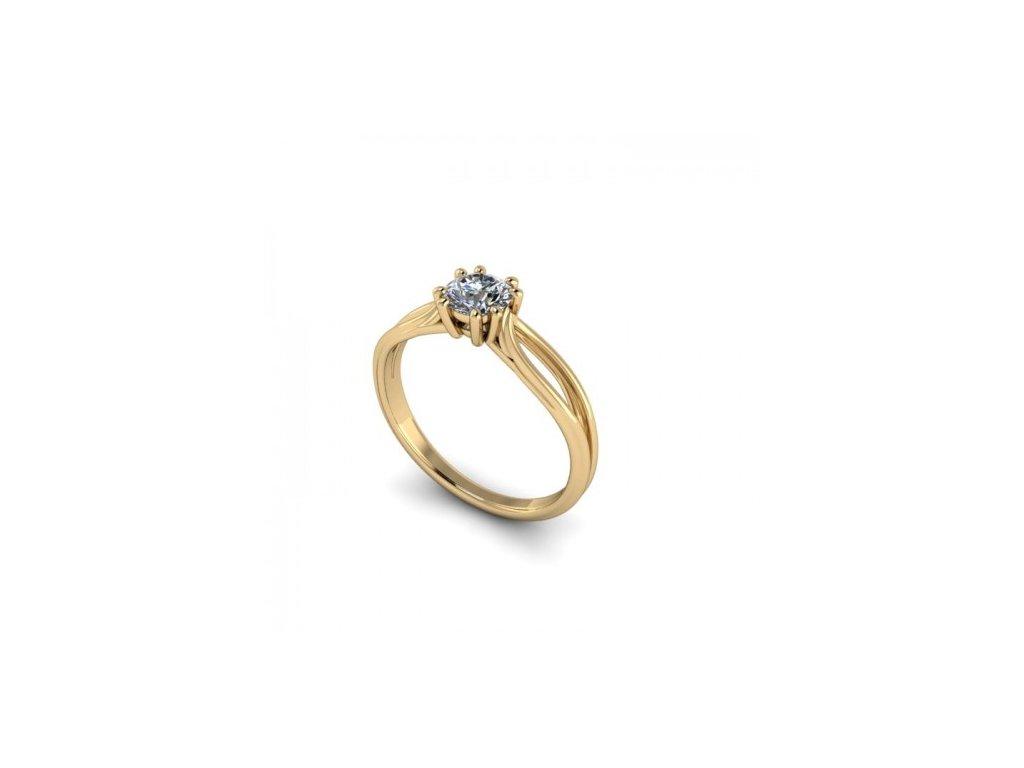 Prsten ze žlutého zlata se zirkonem SPJ41H Šperky JANN