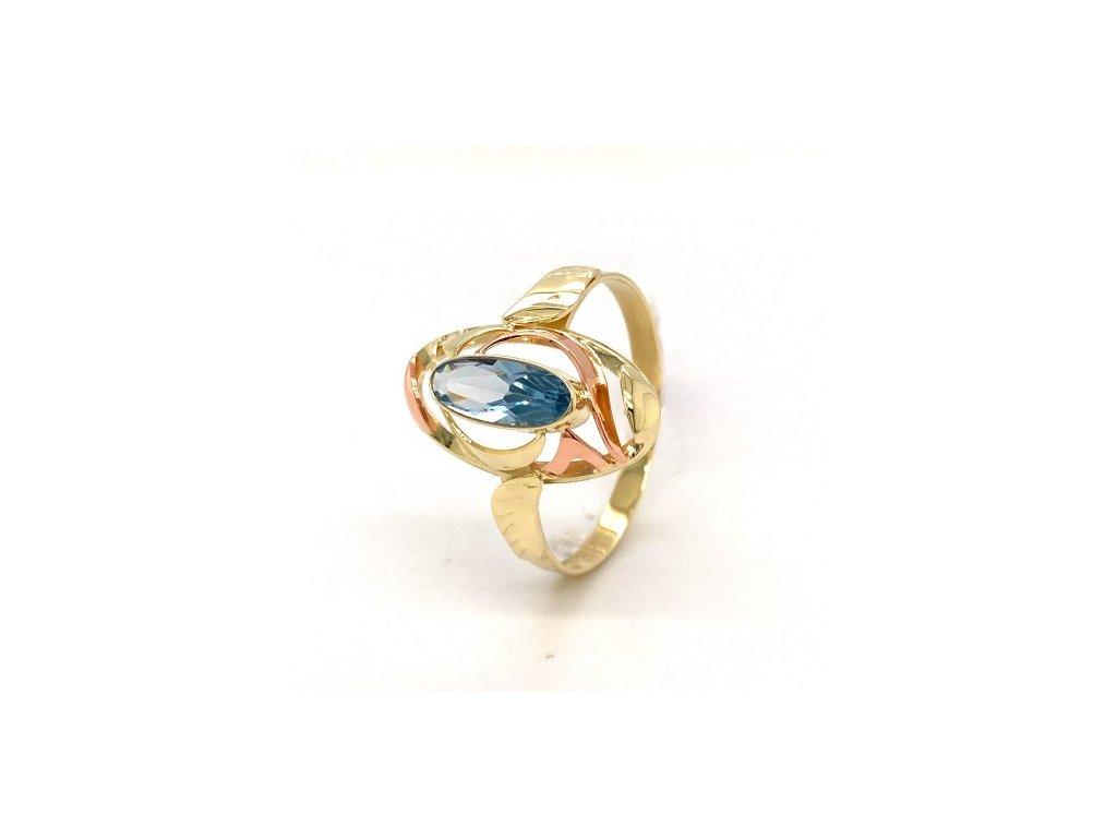 Dámský prsten ze žlutého a růžového zlata, se zirkonem AUZ203 zlatnictvivymolovi.cz
