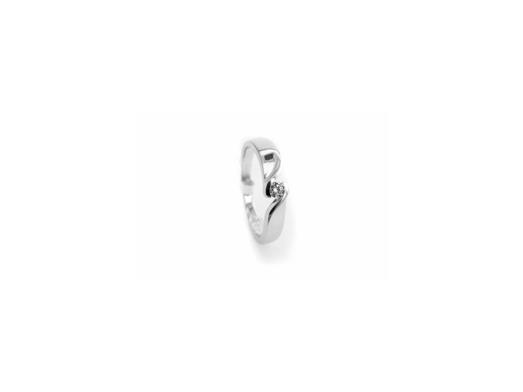 Prsten z bílého zlata s briliantem AUBR81 zlatnictvivymolovi.cz