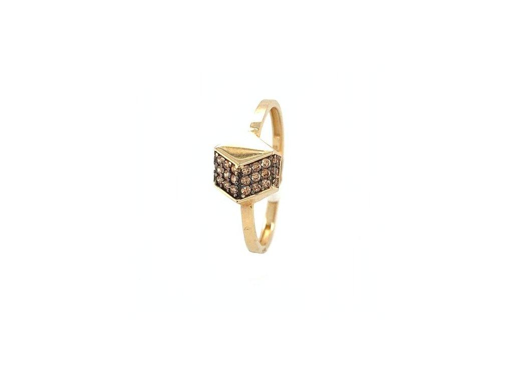 Dámský prsten ze žlutého zlata se zirkony AUZ212 zlatnictvivymolovi.cz