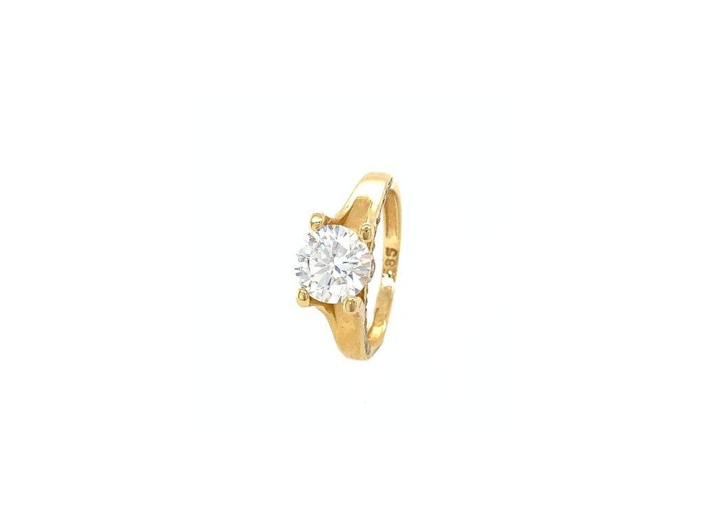 Dámský prsten ze žlutého zlata se zirkony AUZ216 zlatnictvivymolovi.cz